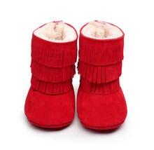 c24f396d94e2b Hiver chaud bébé infantile garçons filles bottes de neige rouge noir  fourrure hiver enfant en bas âge berceau chaussures glands .