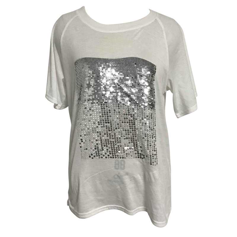 54306834 ... Chic Silver Glitter Sequined T-Shirt Women Short Sleeve Solid O-neck  Bling T ...