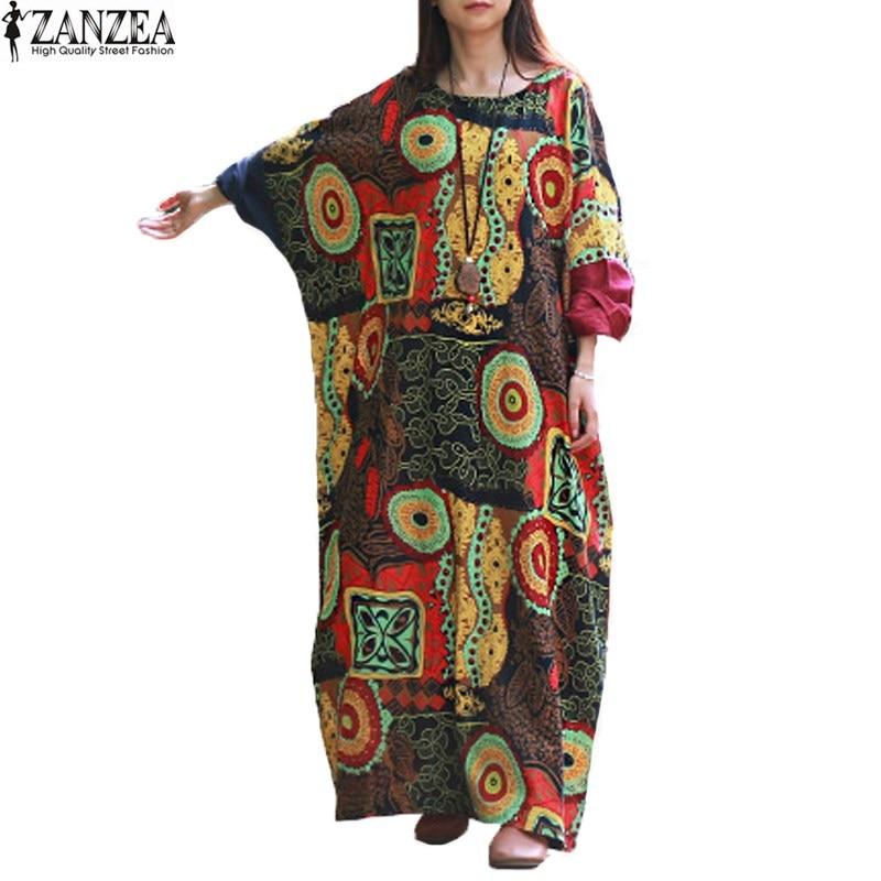 Zanzea retro 2017 de primavera para mujer del cuello de equipo batwing manga flo