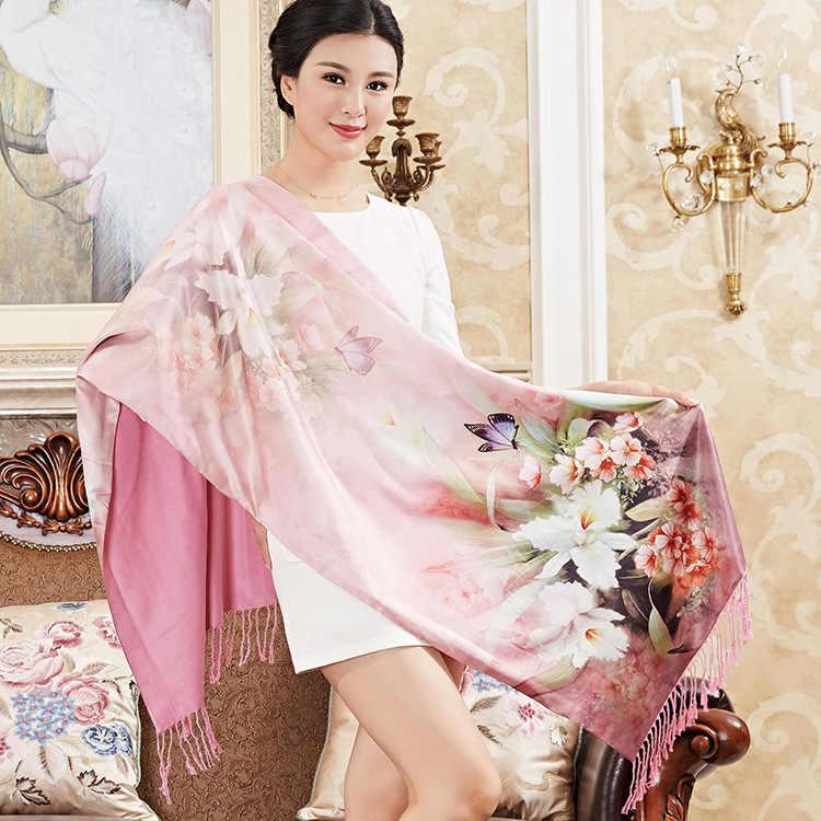DANKEYISI ブランドスカーフファムヒジャーブバンダナスカーフレディースロングタッセル Floural プリントスカーフ冬のショール 100% シルクスカーフ女性