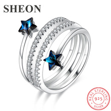 SHEON Spiral Personality Star Crystal Ring 925 sterling silver Open Adjustable Finger Wedding & Engagement Jewelry