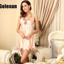 Summer Polyester deep v-neck sleepshirts singlet hollow lace nightgown slim women's
