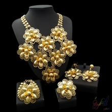 Yulaili Free Shipment Hot Sell Big Flower Design Copper Pure Gold Color Ladies Dubai Jewelry Sets