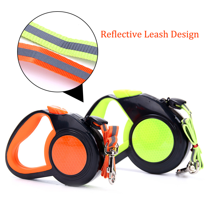 Pet Dog Automatic Retractable Leashes ABS Nylon Walking Night Running Reflective for Leads Leash Small Medium Dogs 3/5/8M Length