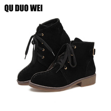 QUDUOWEI Women Boots 2018 Women Suede Leather High Heel Boots Antiskid Fashion Casual Lacing Boots For Women Shoes Botas Mujer
