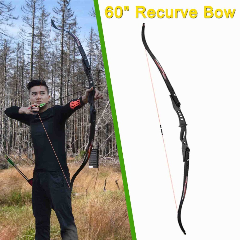 1X Recurve Bow ILF 15-25lbs Youth Beginners Child Game Bow Set Right Left Hand Black Free Shipping