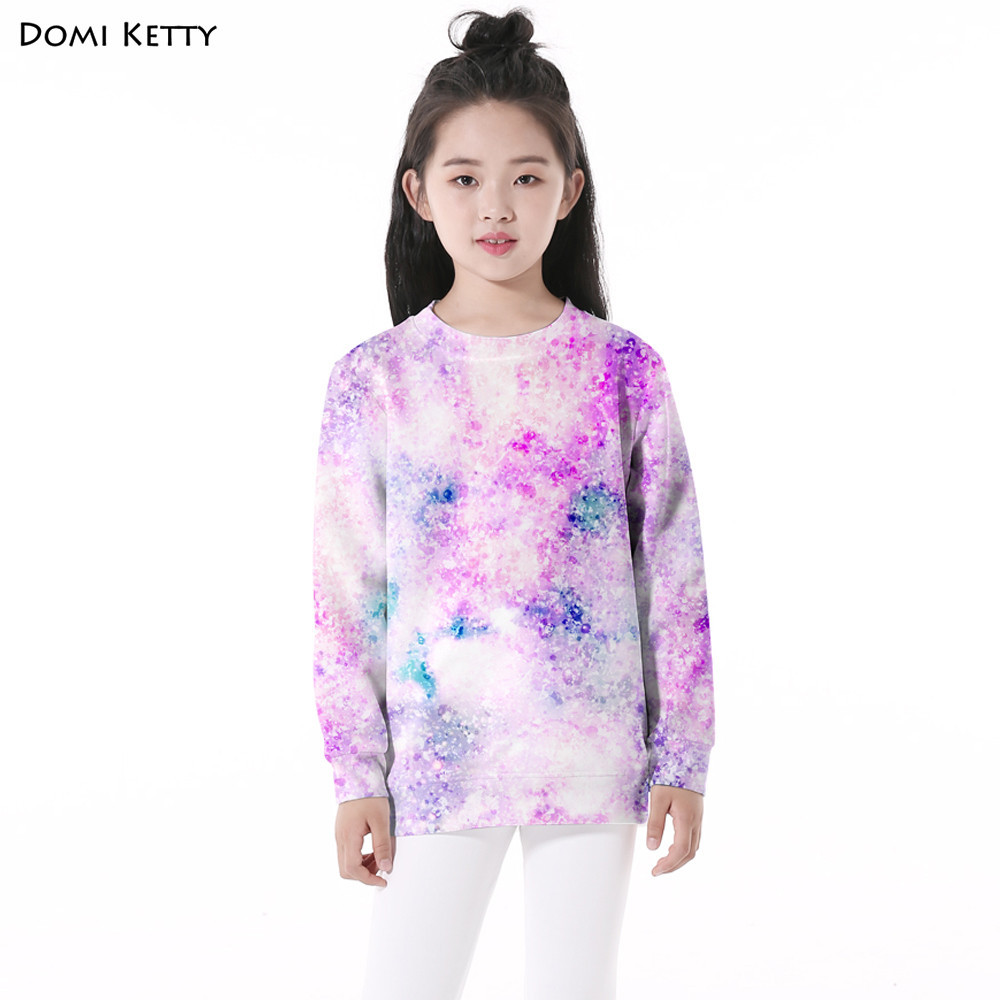 Domi Ketty kids hoodies print purple starry sky cute girls boys long sleeve sweatshirts autumn children casual pullover clothes 2017 new women winter jacket long solid color fur hooded slim big size female cotton coat wadded warm parka outerwear ok1006
