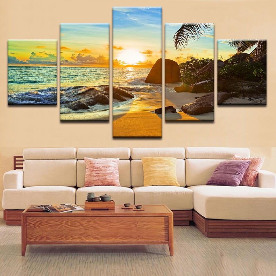 hd printed modern home decor living room sunset beach
