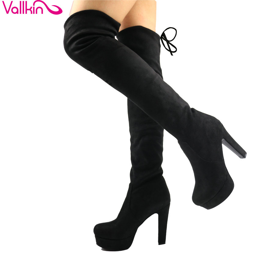 VALLKIN 2018 Platform Over The Knee Boots Thin High Heel Women Boots Ladies Stretch Fabric Lace Up Fashion Boots Big Size 34-43 vallkin 2018 lace up women boots rhinestone square high heel over the knee boots stretch fabric wedding ladies boots size 34 43