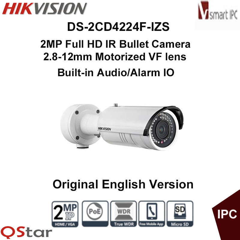 Hikvision Original English Version DS-2CD4224F-IZS 2MP Full HD Motorized IR-Bullet IPC Face&Audio detection CCTV Camera hikvision ds 2cd2642fwd izs original english version 4mp ip camera 2 8 12mm 4x motorized zoom support ezviz poe ir audio ip66