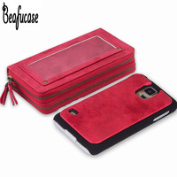 For Funda Samsung Galaxy S5 Case Leather Luxury Wallet With Zipper Phone Bag Case For Samsung