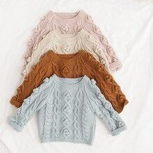 Детская одежда с помпонами; Весенний свитер для малышей; вязаный Однотонный свитер с капюшоном для маленьких мальчиков и девочек; пуловер ручной работы для малышей; кардиган; одежда