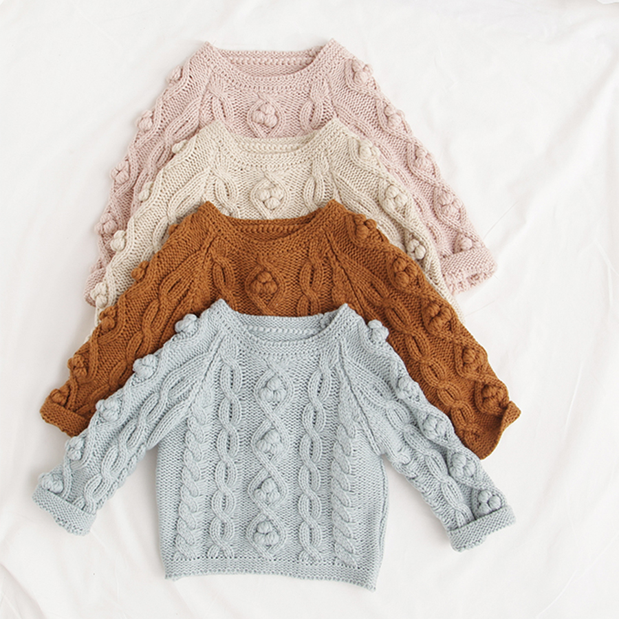 Pom Pom Kids Clothes Spring Baby Sweater Knitted Hooded Boys Girls Toddler Solid Sweater Handmade Baby Pullover Cardigan Clothes kids cardigan turn down collar pullover kids sweaters solid colour children sweater knitted toddler girls cardigan