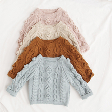 Pom Pom Kids Clothes Spring Baby Sweater Knitted Hooded Boys Girls Toddler Solid Sweater Handmade Baby Pullover Cardigan Clothes