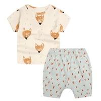 Kids Katoen Vos Print Kleding Jongens Zomer Kinderkleding Set Sport Past voor Jongens Peuter Baby T-shirts + Shorts Sets