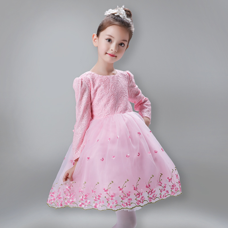 Toddlers Autumn Winter New Style Ball Gown Keep Warm Princess Sweet Girls Lace Bowknot Long Sleeve Formal Christening Dress 4pcs new for ball uff bes m18mg noc80b s04g