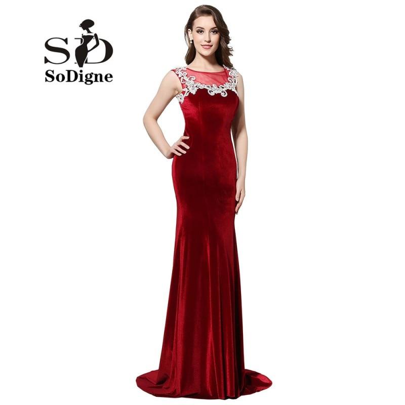 Aftonklänning 2018 SoDigne Vintage Burgundy Velour Sheer Neck Slim Mermaid Prom Dress Appliques Party Dress Vestidos De Gala