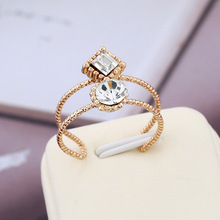 Simple Gold Zircon Engagement Rings for Women Trend Zinc Alloy No Fading Prevent Allergy Opening Female Anillos Mujer