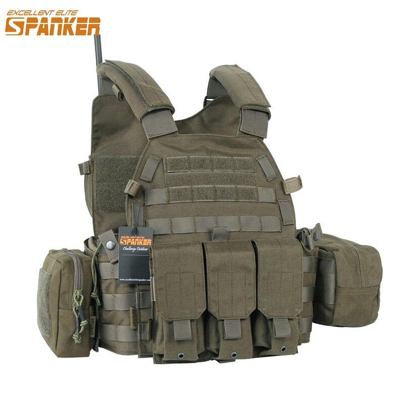 Excelente ELITE SPANKER al aire libre 6094 combate táctico chalecos camuflaje chaleco militar selva caza Molle de Nylon chalecos equipo