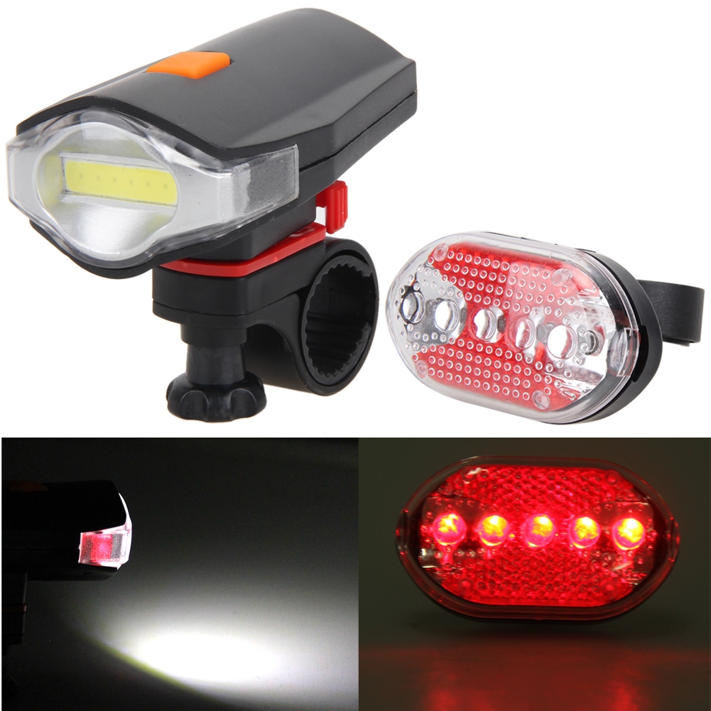 Bicycle Front Rear Lights Set COB LED White Bike Cycling Front Light+5 LED Night Rear Tail Red Bicycle Taillight Lights+Holder 5 led 3 mode red light bicycle tail light 2 x aaa
