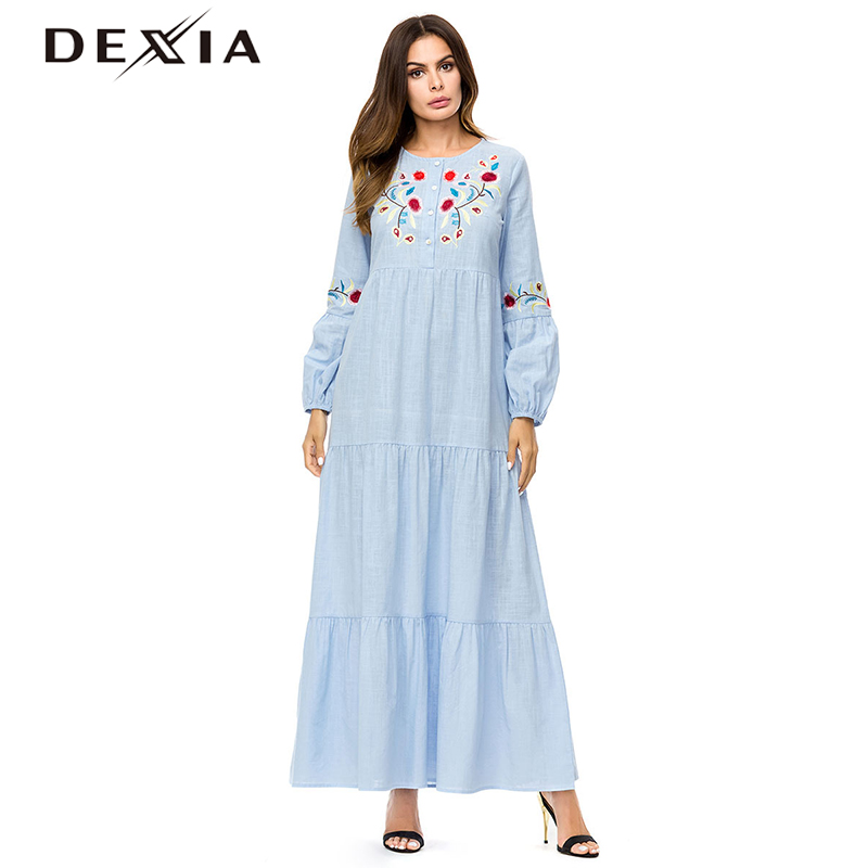 c2f83192e6ffd US $28.57 DEXIA Floral Robe Femme ete 2018 Women Floral Embroidery ...