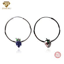 ZHAORU Authentic 925 Sterling Sliver with Ear Loop Earrings Enamal Crystal Earring Pandore Charm Fashion Jewelry for Women Gift
