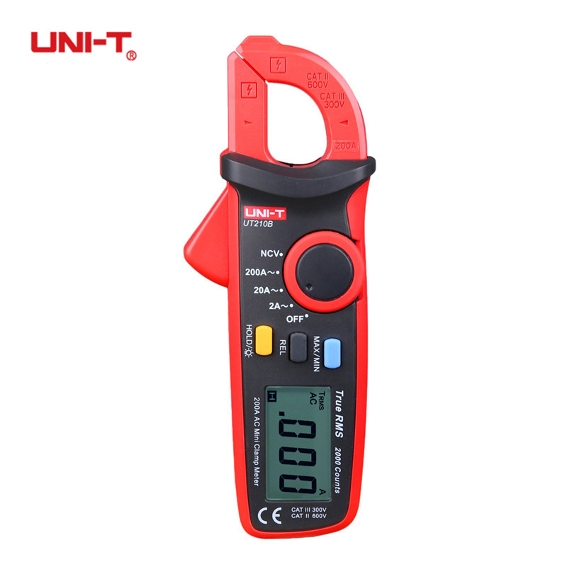 UNI-T UT210B True RMS 200A AC Mini Clamp Meters Ammeter NCV Test Professional Digital Multimeter LCD Backlight MAX MIN Tester