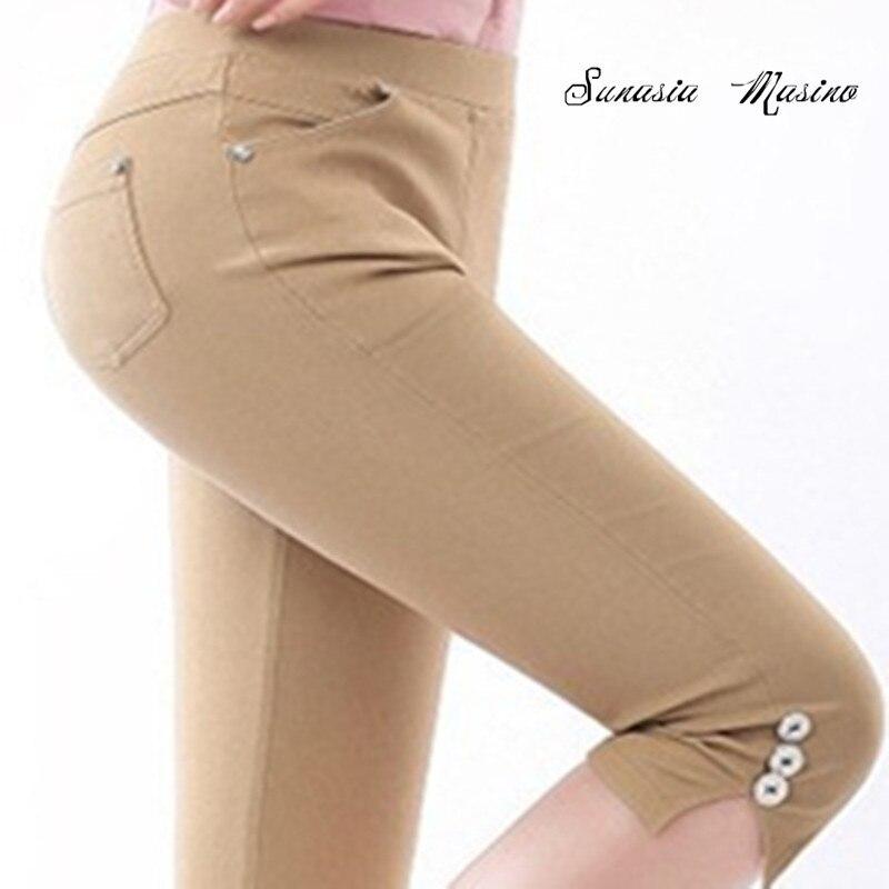 Sunasia Masino 2018 nadrág női nyár Magas rugalmassági ceruza hét nadrág S-4XL nadrágok mujer capri nadrág nők