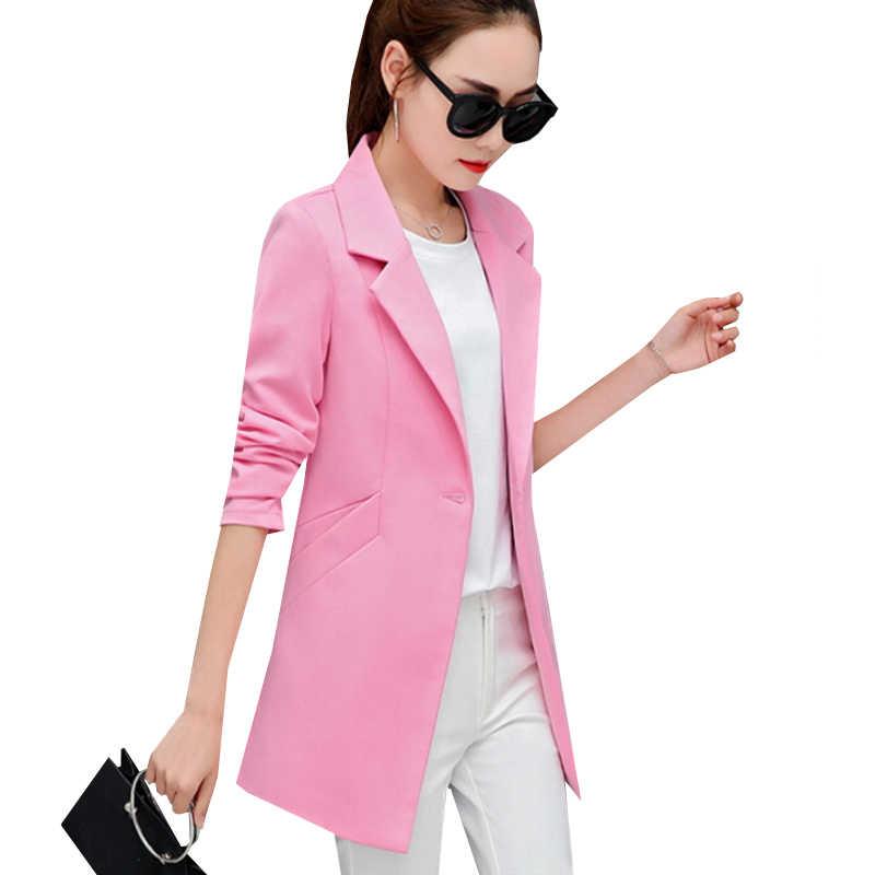 Nueva chaqueta Blazer de moda de otoño para mujer chaqueta ajustada traje para el trabajo chaqueta Casual de oficina OL Blazers largos de talla grande prendas de vestir SF361