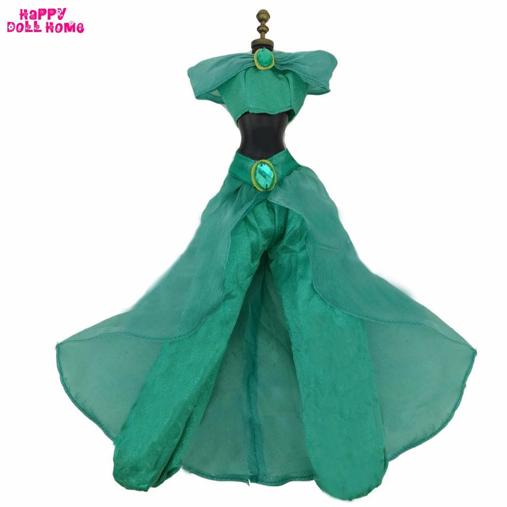 Fairy Tale Copy Aladdin Princess Jasmine Outfit Wedding Party Dancing Costume Clothes For 17 Doll Dollhouse Accessories Gift original aladdin and the magic lamp action figures toy aladdin jasmine princess model doll