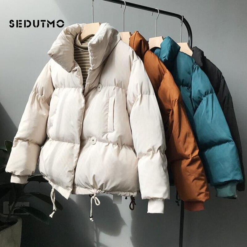 SEDUTMO Winter Thick   Parka   Women Cotton Padded Coat Warm Oversize Short Jacket Female Streetwear Outwear Casual Clothes ED585