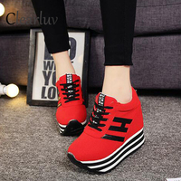 2019 new canvas shoes female muffin with increased height casual shoes wedge with high heeled sports shoes black white red 35 39