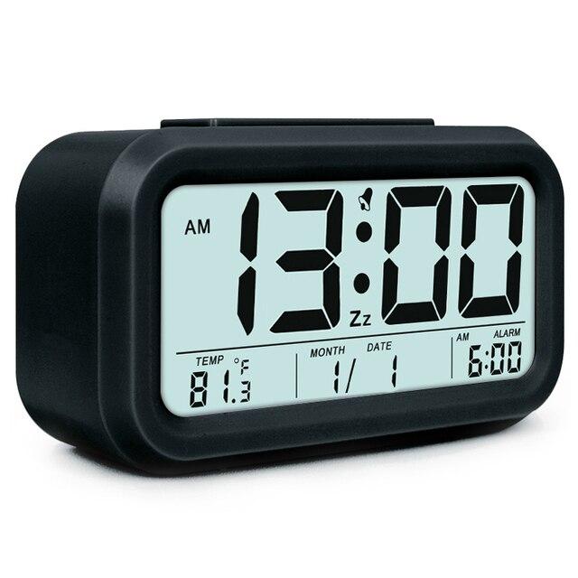 5f092dc2f5a Alarme Relógio Eletrônico Digital Grande Display LCD Snooze Relógio  Estudante Mesa de Luz Sensor De Luz