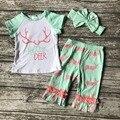 Летние Новорожденных девочек мода короткие капри одежда привет олень коралловые mint костюм хлопка костюмы с соответствующими оголовье аксессуары