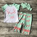 summer Baby girls fashion short capris clothing hello deer coral mint suit cotton set outfits with matching accessories headband