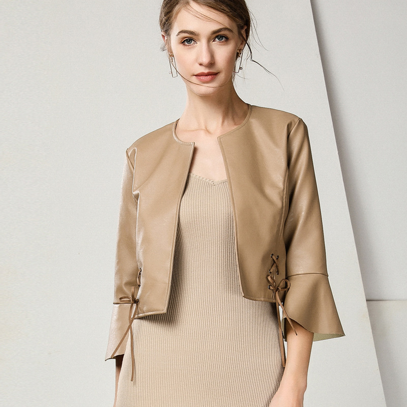European and American Women's Fashion White Pu   Leather   New Style Women's Short Suit Half Sleeve Apricot   Leather   Jacket women