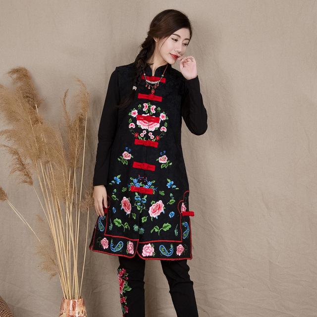 Luo color original nuevo estilo popular larga bordada chaleco, chaleco sin mangas de algodón de cuello delgado