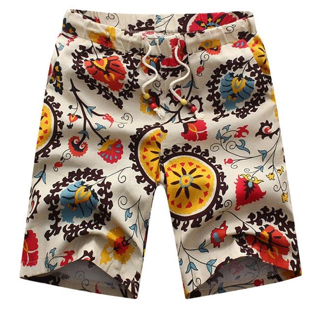 Мода лето свободного покроя короткое лето льняные брюки мужские свободного покроя брюки большой размер мужские свободного покроя пляжные брюки цветочные брюки прилив 26