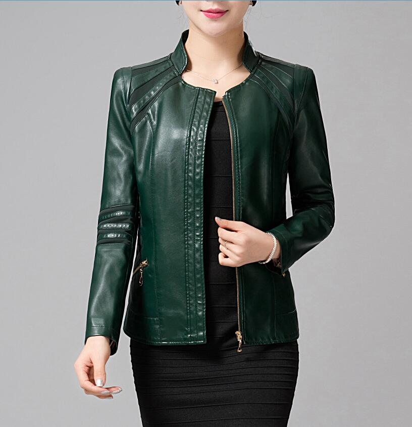 Mother Clothing Autumn Winter Leather Women Army Green