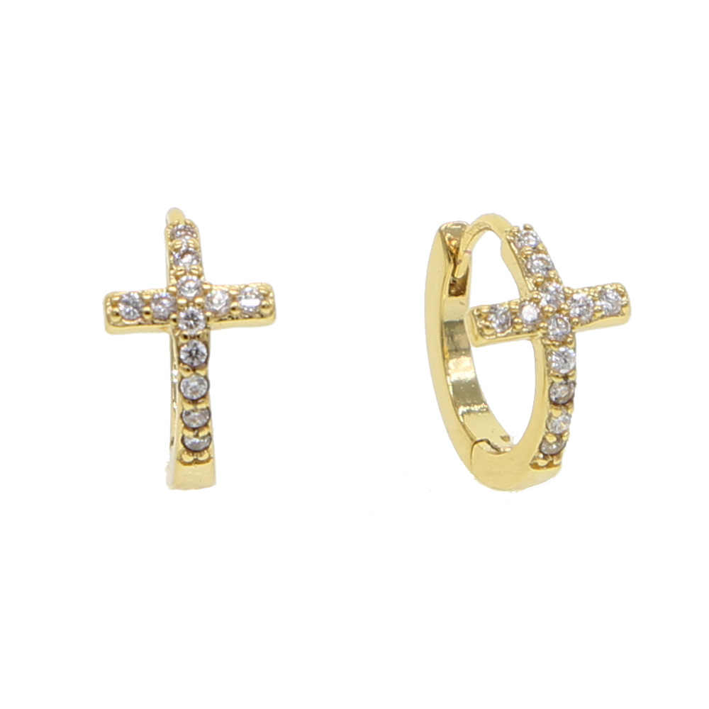7dfe1b17c classic design cz cross small hoop earring for women religious cross circle  factory wholesale cute adorable