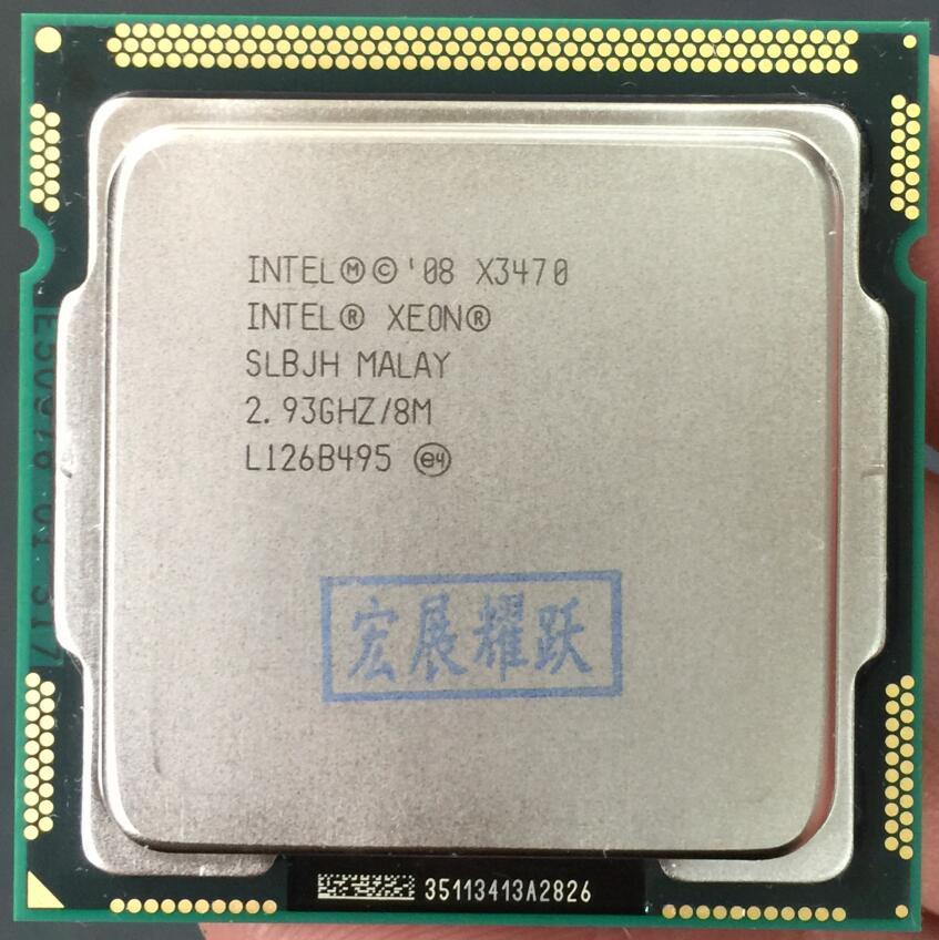 Процессор Intel Xeon X3470 Quad-Core LGA1156 кабельный адаптор Процессор 100% работает должным образом Настольный сервер процессор cpu X3470