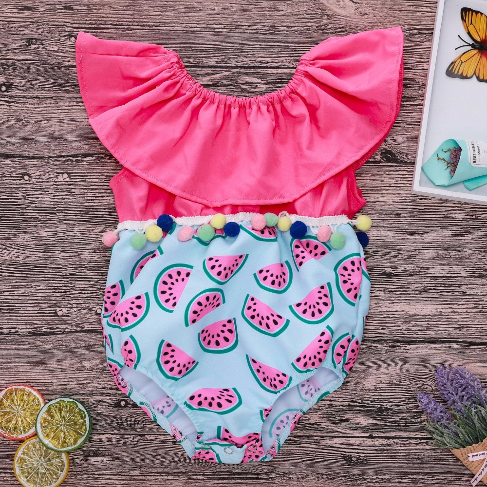 2018 Newborn Clothes Baby Bodysuit Watermelon Outfit Infant Onesie Baby New Born Baby Girl Sleeveless Ruffle Shoulder Baby Cute