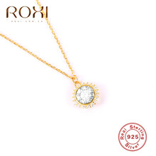 ROXI CZ Cubic Zirconia Round Pendant Necklace Women Simple Korean 925 Sterling Silver Necklace Clavicle Chain Choker Necklace