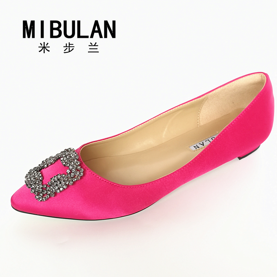 Free Shipping 2016 Female Classic Silk Stain Diamond Buckle Flats, Women's Sexy Silk Stain Diamond Buckle Party Flats, 33-43