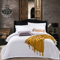 Classical White Jacquard Hotel Bedding Set 4 Pieces 100% Cotton Jacquard Duvet Cover Set Queen King Size Flat/fitted Sheet Set