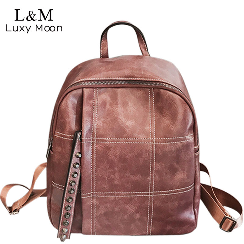 a1b36ea4d24f Rivet Simple Women Backpack Fashion PU Leather Girl School Solid Backpack  Ladies Travel Vintage Soft Pink