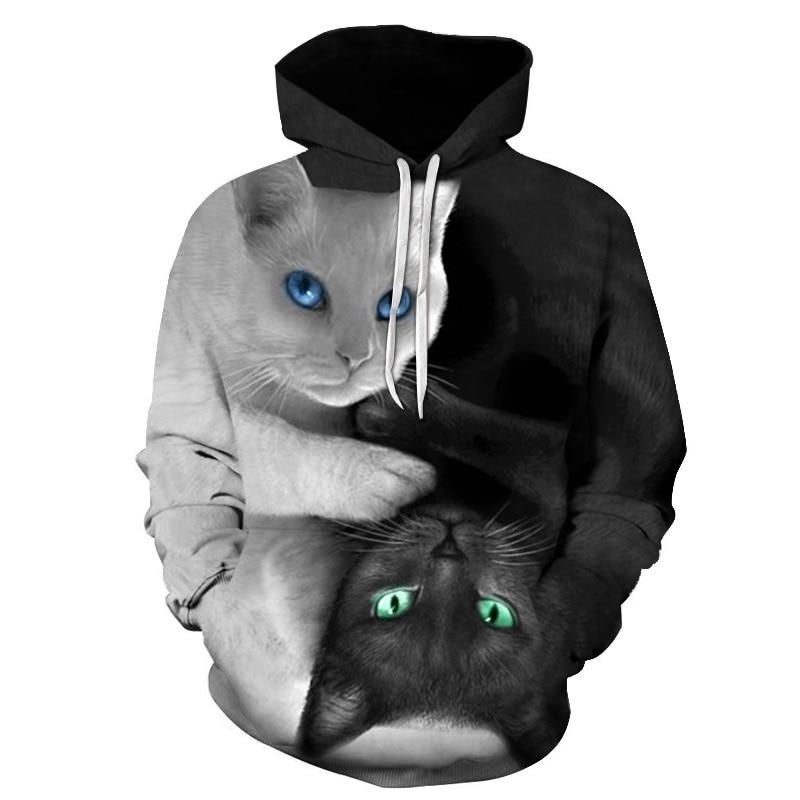 Black White Cats 3D Hoodie Hoodies Men Women 2019 Long Sleeve Sportswear Tracksuit Poleron Hombre Casual Hooded Sweatshirts