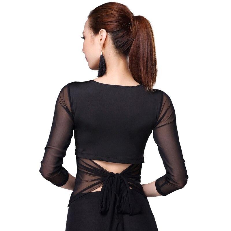 Latin Dance Shirt Women Tops Sexy Backless Ballroom Modern Salsa Tango Latin Training Shirts Female Dancewear Black Leopard Tops