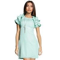 Women Petal Sleeves Modest Dress Elegant Evening Celebrity Party Plus Size Classy Dress With Short Sleeves Vestido De Festa
