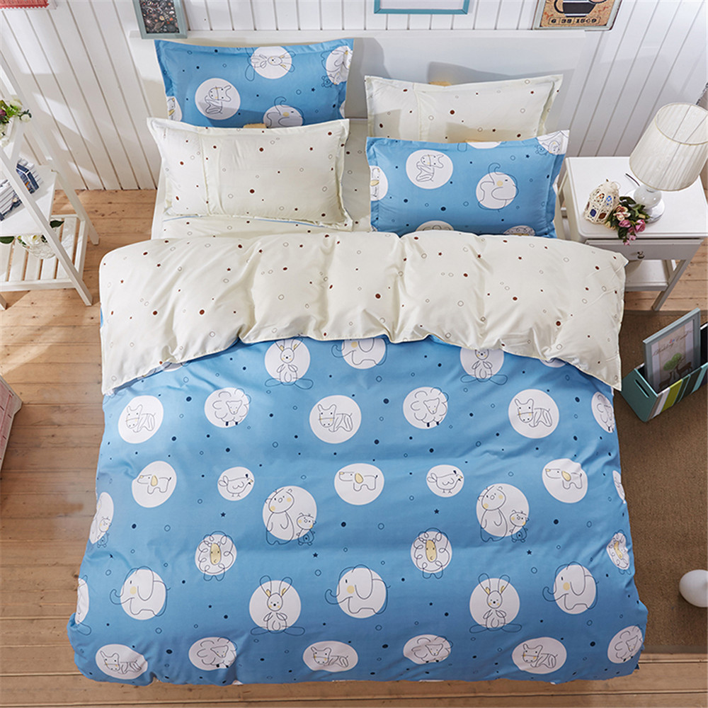 Simple bed sheets pattern - Polyester Kids Cartoon 4pc Bedding Sets Blue White Circle Simple Pattern Duvet Cover Flat Bed Sheet Pillowcase Boy Girl Bedroom